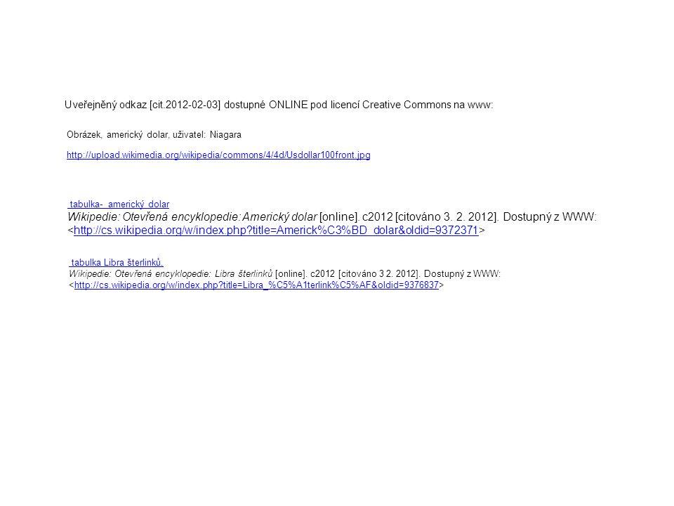 Uveřejněný odkaz [cit.2012-02-03] dostupné ONLINE pod licencí Creative Commons na www: